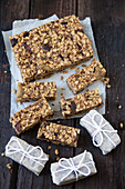 Homemade oatmeal and olive bars