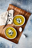 Potato, leek and squash soup with creme fraiche