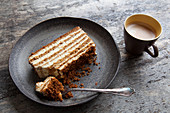 Layered honey cake and coffee