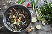 Thai steamed mussels with ginger, lime, spring onions, corriander and chilli (Thailand)