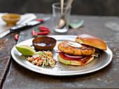 Salmon burger with cilantro slaw
