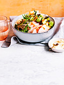 King fish poke bowl with pickled ginger ponzu