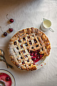 Cherry pie, view from above, sliced removed