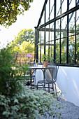 A greenhouse in a garden