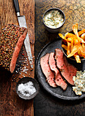Roast beef with a pepper and honey crust and remoulade