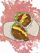 A cheeseburger burrito (illustration)