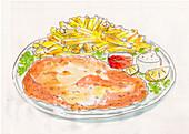 Schnitzel mit Pommes (Illustration)