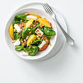Baby spinach salad with peaches, goat's cheese, crispy bacon and nuts