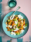 Calamarata alla ponentina con stracciatella (calamarata pasta with basil pesto and burrata, Italy)