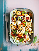 Pasta salad with buffalo mozzarella and mackerel fillets