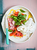 Salad with marinated watermelon and burrata