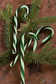 Green striped candy canes