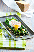 Roasted asparagus with poached egg, pine nuts and wine cheese