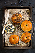 Homemade bagels with goat's cheese, blueberries, thyme and honey