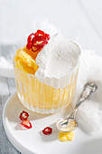 Mango ice cream with peppermint cream and chilli