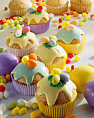 Easter muffins with sugar eggs