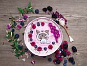 Berry smoothie bowl decorated with Grumpy Cat