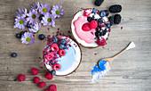 Blauer und rosafarbener Smoothie mit Kokos und Beeren (Aufsicht)