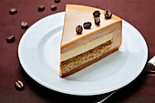 Coffee caramel cream brulee mousse cake