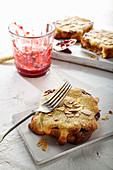 Bostock (baked brioche slices) with strawberry jam