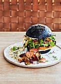 sweet-potato burger on a charcol bun