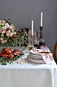 A festively decorated table for Passover