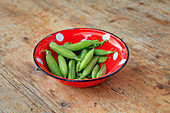 Fresh pea pods in an enamel bowl