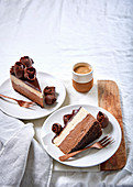 Cinnamon and espresso mousse cake