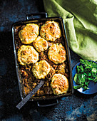 Beef casserole with scones