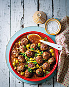 Meatballs with lemon and olives