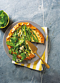 Green asparagus and feta galette
