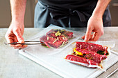 Vacuum packing meat to reduce the marinating time (beef tataki)