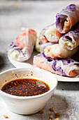 Vegan summer rolls with a spicy chili dip