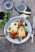 Side of salmon with mashed herb potatoes