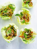 Thai chicken in lettuce-leaf cups