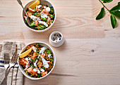 Lentil salad with salmon and yoghurt dressing