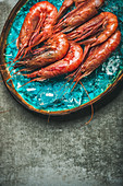 Raw uncooked red shrimps on chipped ice in turquoise blue ceramic tray