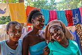 Girls with painted faces, Madagascar