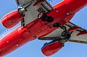 Passenger jet from below