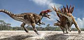 Allosaurus attacking a Stegosaurus dinosaur, illustration