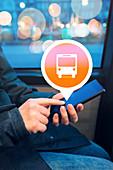 Woman using public transport app