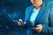 Woman using smartphone and tablet