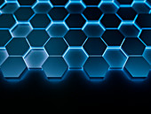 Blue hexagons, illustration