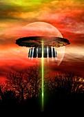 UFO landing, illustration