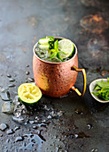 Moscow Mule Cocktail with vodka, limes and mint