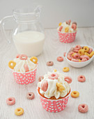 Cupcakes with cottage cheese and fruit loops