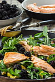 Rocket salad with blackberries, roasted salmon fillet and pine nuts