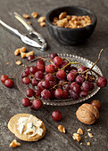 Red Grapes with Cheese Savoury Crackers and Walnuts