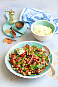 Vegetarian tagine with chickpeas and aubergine