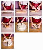 A pram cake being made
